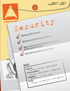 php|architect April 2013 Cover image - Security