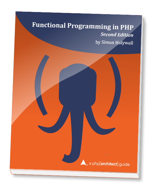 Functional Programming in PHP—Second Edition book cover with picture of elephant head with parentheses for ears.
