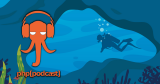 Pocast logo on an undersea scene