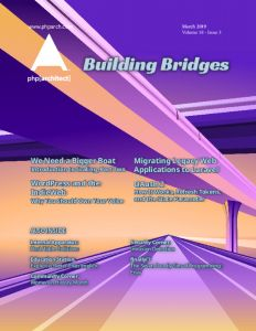 March 2019 Magazine cover. Stylized bridges over a highway