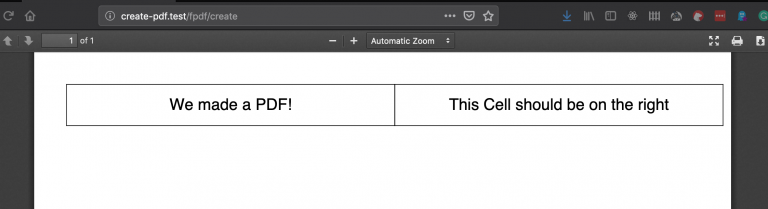 PDF document showing two adjacent cells with custom text in each.