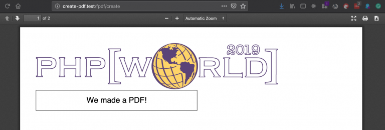 Generated PDF file with the image of the php[world] 2019 logo on the first page.