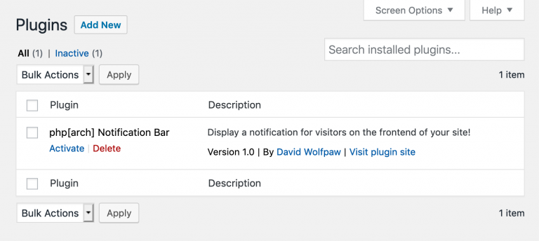 Screenshot of the WordPress plusgin list showing our inactive plugin
