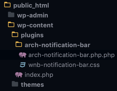 The directory hierarchy for plugins showing where to put arch-notifications-bar folder for our plugin.