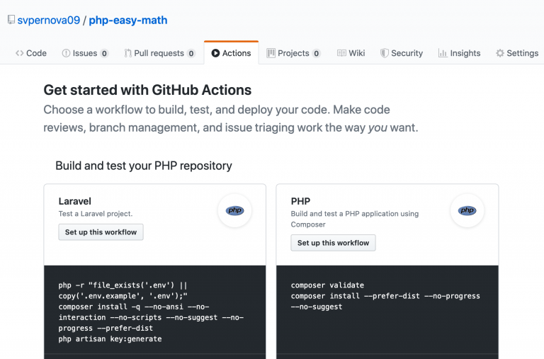 Screenshot of github actions set up options.